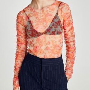 NWT Zara Sheer Floral Long Sleeve Top! Size M!